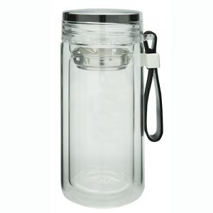 Double Wall Glass Tea Bottle Wth Loop