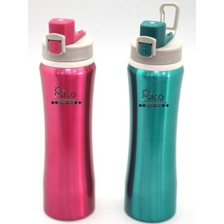 Curved Stainless Steel One Touch Open Sports Bottle Pink, Green, Black With Handle 800Ml