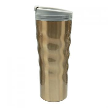 Curved Stainless Steel Double Wall Coffee Mug 16oz Golden Desert