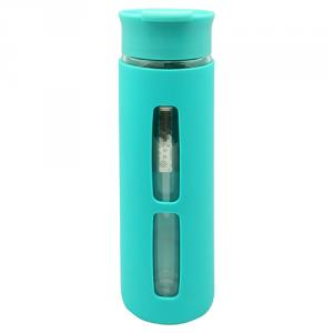 Double Wall Glass Bottle 380ml with Strainer, Silicone Sleeve