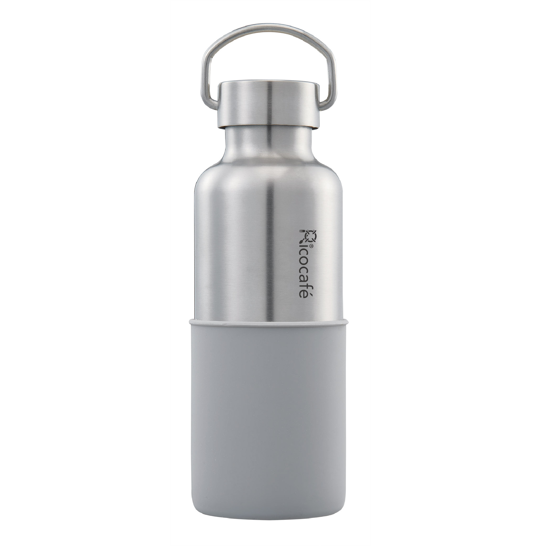 Stainless Steel Vacuum Sports Bottle with Handle & Silicone base